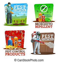 Pest control vector icons, disinsection, insects extermination service at home and gardens. Agricultural pest control with cold fogger and press sprayer against field rodents, mosquito repellents
