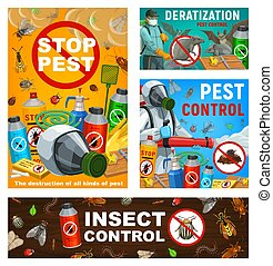Pest control vector posters, disinsection, insects and rodents extermination service at home and garden. Exterminators with cold fogger and press sprayer against vermins and parasites, repellents