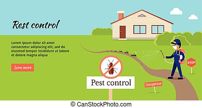Pest Control Vector Web Banner in Flat Design