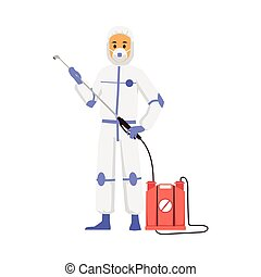 Pest control worker in protective white costume holding blowgun of barrel with pesticide or poison, flat vector illustration isolated on white background.