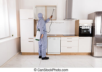 Pest Control Worker Spraying Pesticide On Shelf