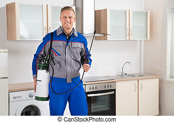 Pest Control Worker With Insecticide Sprayer - Young Happy...