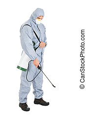 Pest Control Worker With Pesticides Sprayer - Pest Control...