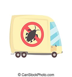 Pest controll service van cartoon vector illustration...