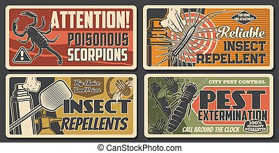 Pest extermination, insect repellents, scorpio attention sign. House disinsection, Vector centipede, silverfish, termite and flies fumigation. Domestic pest control service retro vintage posters
