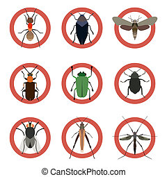 Pest insects control icons. Collection danger ants.