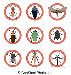 Pest insects control icons. Collection danger ants. Vector