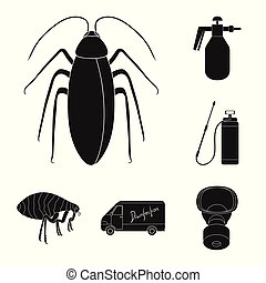 Pest, poison, personnel and equipment black icons in set...
