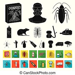 Pest, poison, personnel and equipment black,flat icons in...