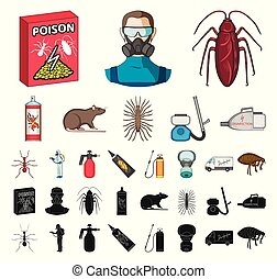 Pest, poison, personnel and equipment cartoon, black icons...