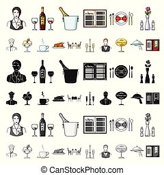 Pest, poison, personnel and equipment cartoon icons in set...