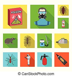 Pest, poison, personnel and equipment flat icons in set...
