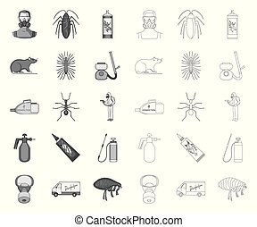 Pest, poison, personnel and equipment mono, outline icons in set collection for design. Pest control service vector symbol stock web illustration.