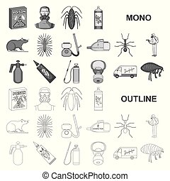 Pest, poison, personnel and equipment monochrom icons in set...