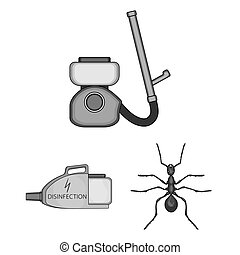 Pest, poison, personnel and equipment monochrome icons in...