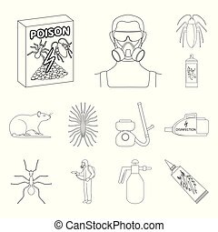 Pest, poison, personnel and equipment outline icons in set...