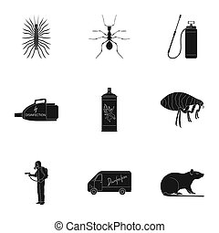 Pest, poison, personnel and various equipment black icons in...