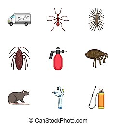Pest, poison, personnel and various equipment cartoon icons...
