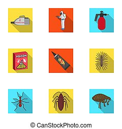 Pest, poison, personnel and various equipment flat icons in...