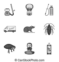 Pest, poison, personnel and various equipment monochrome...