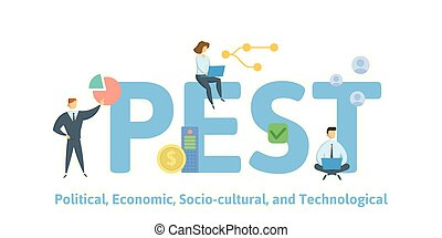 PEST, Political Economic Socio-cultural Technological. Concept with people, letters and icons. Flat vector illustration. Isolated on white background.
