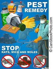 Pest remedy, rodents extermination, deratization sanitary control service vector poster. House rats, mice and moles pest control poison disinfection, mouse traps and fumigation disinfestation