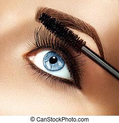 pestañas, aplicación de maquillaje, extensiones, rímel, closeup.