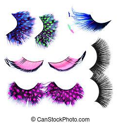 Pestañas, concepto, falso, encima, Maquillaje, Conjunto, blanco