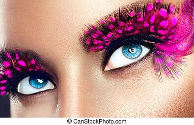 Pestañas, falso, púrpura, largo, creativo, Primer plano, Maquillaje, feriado