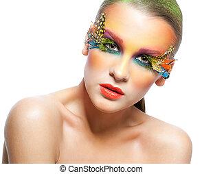 Pestañas, mujer, falso, pluma, Maquillaje