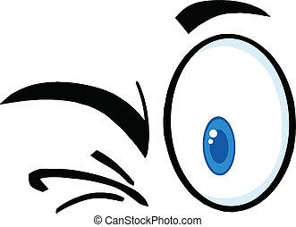 pestanejo, caricatura, olhos