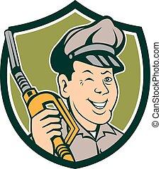 pestanejo, escudo, bocal, gás, assistente, caricatura