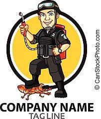 peste, caricatura, logotipo, control