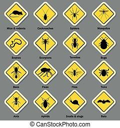 peste, e, insetto, controllo, icone, set.