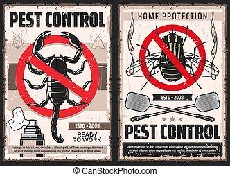 peste, serviço, cartazes, doméstico, disinsection, controle