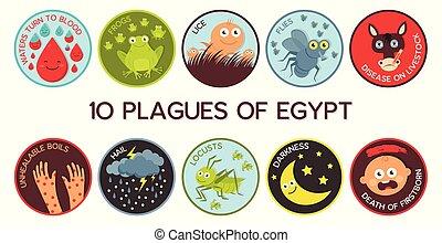 pestes, dix, egypte, cartoon-, pâque, vecteur