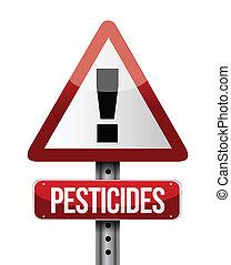 pesticidas, sinal aviso, ilustração, desenho