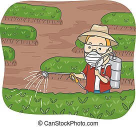 Pesticide Man - Illustration Featuring a Man Spraying...