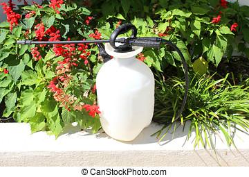 pesticide sprayer - close up of a plastic pesticide sprayer...
