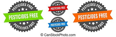 pesticides free sign. round ribbon label set. Seal