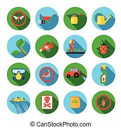 Pesticides Round Icons Set