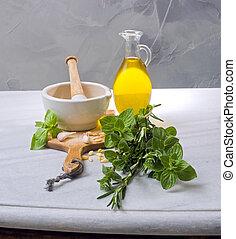 pestle mortar fresh herbs