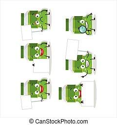 Pesto bottle cartoon character bring information board
