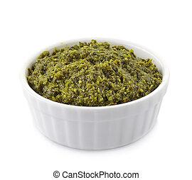 Pesto sauce - Bowl of basil pesto sauce