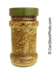 Pesto sauce in glass jar