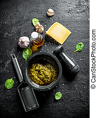 Pesto sauce with olive oil, Parmesan and garlic.