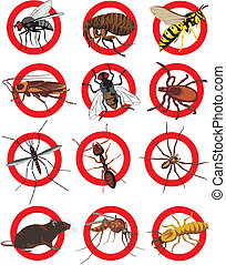 pests icon - color - warning sign, pest control, invasion...