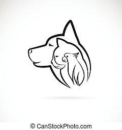 pet., собака, кот, background., вектор, животное, логотип, белый, птица, design.