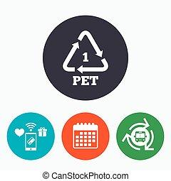 PET 1 icon. Polyethylene terephthalate.