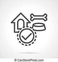 Pet accessories black line vector icon